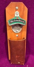 Heineken Beer Wood Beer Bottle Opener Leather Advertizing  The Cap Catcher Vtg
