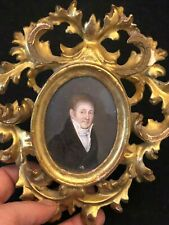 Portrait Man Painting Miniature Frame Wood Golden Tulle Netting Carved XIX ° Th
