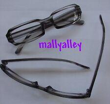 Brand New Clear Black STRIPED GRAY Reading Glasses 1.25 Rectangular Readers