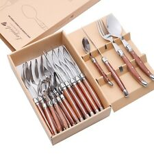 Luxurious Durable Laguiole Stainless Steel Flatware Set. Wood Handles 24 PCS NEW