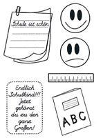 Motiv-Stempel Clear stamp Einschulung Schulanfang Smiley Notiz efco 45 111 77