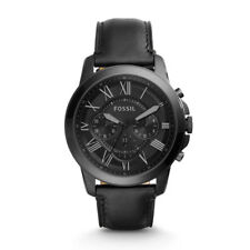 Fossil FS5132 Grant Black Dial Chronograph Black Leather Strap Men's Watch