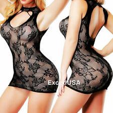 Sexy Lingerie Nightwear Sleepwear Bodysuit Stocking Dress Mini Short Bodycon Set