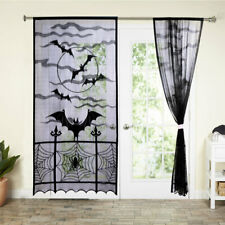 Black Lace Spider Web Window Door Curtain Panel Drape Halloween Haunted House
