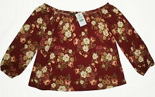 NWT FLORAL OFF SHOULDER TOP WOMEN'S SHIRT BLOUSE ROSES RED FLOWERS MAHOGANY M