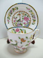 Lovely Antique Royal Grafton Tea Cup & Saucer~Beautiful Design with Peacocks