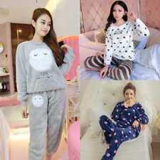 Women Warm Winter Coral Fleece Pajama Sets Flannel Animal Long Sleeve Sleepwear