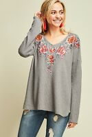 ENTRO Embroidered Waffle Knit Tunic Top