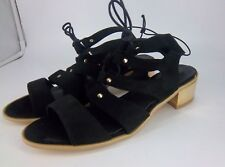 Heart & Sole Gold Block Heel Gladiator Sandals Black UK 9 EU 42 NH087 KK 01