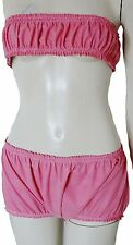 Rubber Bikini Set Shorts Pants Knickers and Boob Tube Bra Top L/XL/XXL Pink