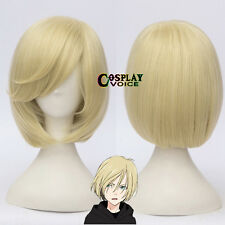 YURI!on ICE Yurio Light  Blonde Short Girls Women Synthetic Anime Cosplay Wigs