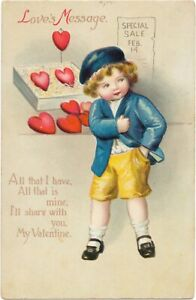 Ellen Clapsaddle Valentine - Boy Buys Heart on Sale