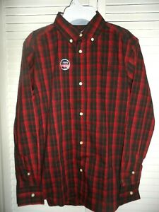 Great Chaps boys size L 14 16 red black plaid button up long sleeve shirt NWT