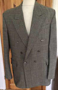 "Bespoke Prince Of Wales Check Wool Double Breasted Blazer 44"" Chest Mint Conditi"