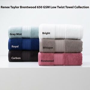 Renee Taylor Brentwood 650 GSM 100% Cotton Low Twist Hand|Bath Towel|Sheet|Mat
