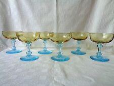 LEGRAS GEORGE SAND TALL SHERBET GLASSES COUPES A CHAMPAGNE DE COULEUR COLORÉ 301