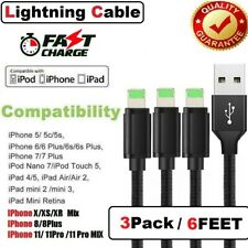 3 Pack 6 FT iPhone Lightning Cable For iPhone 6 7 8 Plus X XS 11 6S Charger Cord