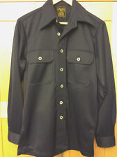 Vintage Jonathan Moore Mod Men's Navy Blue Polyester Double Knit Disco Shirt S