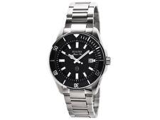 Bulova 98B203 Mens Silver Tone Stainless Steel Black Dial Date 44mm Watch