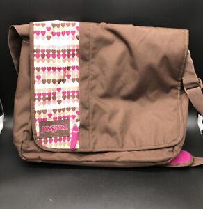 JANSPORT brown And Pink messenger shoulder travel laptop bag durable polyester