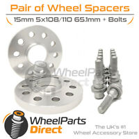 Wheel Spacers (2) & Bolts 15mm for Peugeot RCZ 09-15 On Original Wheels