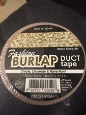 "Fashion Burlap Duct Tape White Cheetah 1.88"" x 10yds New!!!"