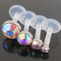 2,3,4,5mm Comfortable 16G Bioplast Triple Forward Helix 6, 8mm Tragus AB Crystal