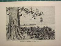 C1890 Antico Stampa ~ Vista Al Zambese & Chobe Confluence