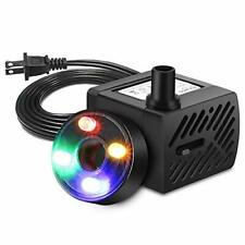 PULACO Mini Fountain Pump with LED Light, (50GPH 3W) Submersible Pump for Water