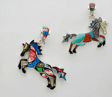 PLAYFUL HANDCRAFTED HORSE PENDANT IN TURQUOISE/MULTICOLOR INLAY IN .925 SILVER