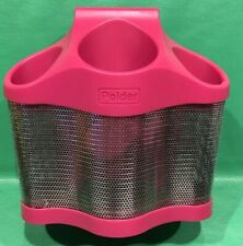 POLDER  STYLE STATION STAND 3 Bins Hot Pink Stainless Steel  Iron Dryer Holder