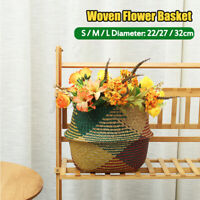 Seagrass Flower Belly Basket Woven Storage Holder Plant Pots Home Deco 5@%