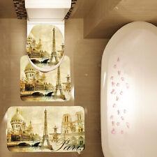 3 Piece Brown Paris Eiffel Tower Bathroom Mat Set Contour Mat Toilet Cover