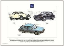 CLASSIC SAAB - Fine Art Print A3 size - 96, 99 Turbo, 900 Turbo - 1960-93 models
