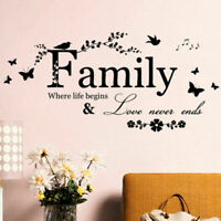 Removable Home Decor Wall Stickers Decals Family Vinyl Quotes Murals Art DIY US