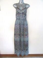 JUST JEANS Long Blue Red Hippie Boho Bohemian Dress Lined 10