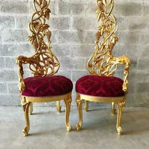 Italian Baroque Red Velvet Upholstered Chairs - a Pair.