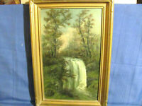 Adirondack / Catskills Oil Painting Landscape with Waterfall c.1915