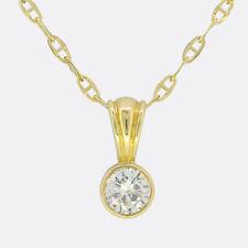 0.50 Carat Diamond Pendant Necklace 18ct Yellow Gold