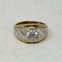 12 g EUC Men's Lind THGE LIND yellow white Gold Ring 14K Electroplate CZ Size 10