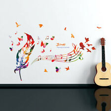 Musical Notes Wall Sticker For Band Room DIY Colorful Leaves Decal Home Decor
