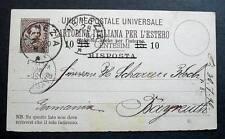 ITALY POSTAL STATIONERY RISPOSTA OVERPRINT VENEZIA 1890 TO BAYREUTH GERMANY