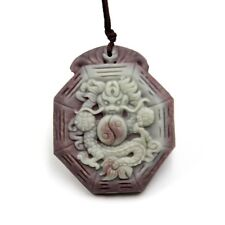 Two Layer Natural Stone Chinese Zodiac Dragon Taiji 8-Diagram Bat Amulet Pendan