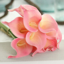10PCS Artificial Real Touch PU Calla Lily Silk Fake Flowers Home Wedding Decor