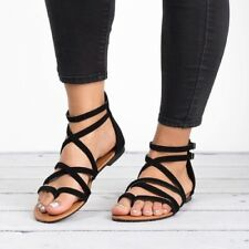 Womens Criss Cross Strappy Thong Open Toe Ankle Strap Gladiator Flat Sandal Shoe
