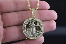 Mens and Ladies Sterling Silver Liberty Coin Medallion Iced Out Pendant w/ Chain