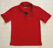 UNDER ARMOUR Boys SZ 4 Polo Shirt RED Short Sleeve HEAT GEAR Collared LOGO