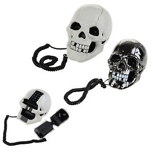 Home Decoration Skull Shape Telephone Set LED Flash Eyes Corded Telephones