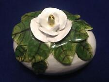 Eggs Floral White Rose Ceramic Handpainted 3D Handmade Germany Artist Signed