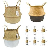 SEAGRASS BELLY BASKET STORAGE PLANT POT FOLDABLE NURSERY LAUNDRY BAGS HOME UNITS